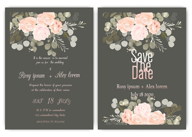 Wedding invitation card floral hand drawn frame