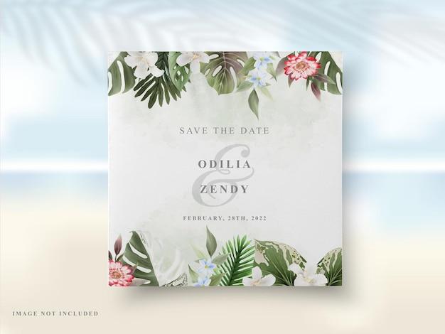 결혼식 초대 카드 꽃 여름
