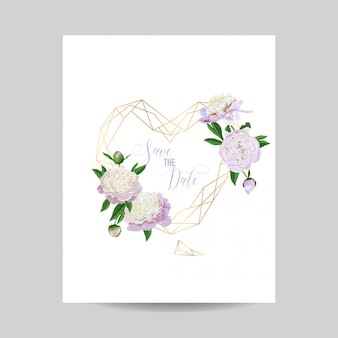 Wedding invitation card floral template save the date