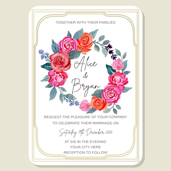 Wedding invitation card floral watercolor with golden frame
