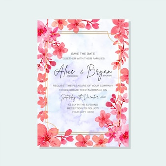 Wedding invitation card floral watercolor