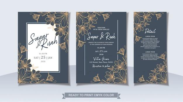 Wedding invitation card floral with sketch luxury elegant