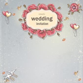 Свадебная пригласительная открытка для вашего текста на сером фоне с маками, воздушными шарами, голубями и осенними листьями