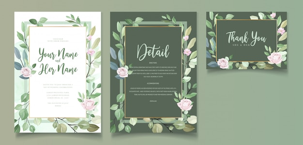 Wedding invitation card in green leaves