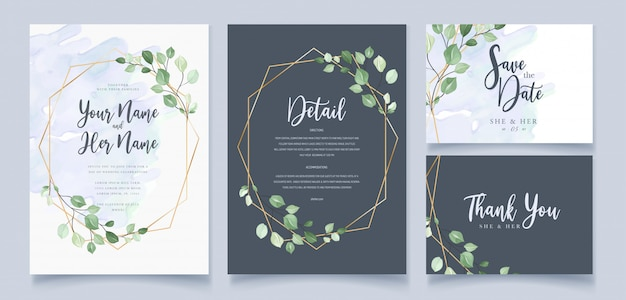 Wedding invitation card in green leaves