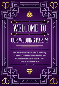 Свадебное приглашение в стиле ар-деко
