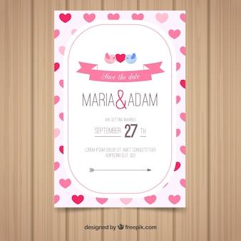 평면 스타일의 결혼식 초대 카드