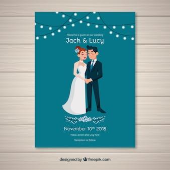 Wedding invitation card in flat style