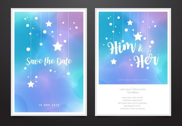 水彩ギャラクシーデザインの結婚式招待状