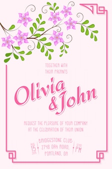 結婚式の招待状。背景に花柄の要素を持つ招待状