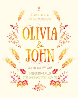 Wedding invitation card. invitation card with watercolor floral elements