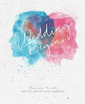 Приглашение на свадьбу с надписью, пожалуйста, мы будем венчаться рисунок акварелью