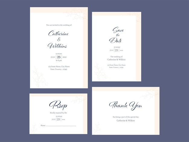 날짜를 저장하고 회신을 하고 감사합니다와 같은 결혼식 초대장은 흰색으로 게시됩니다.