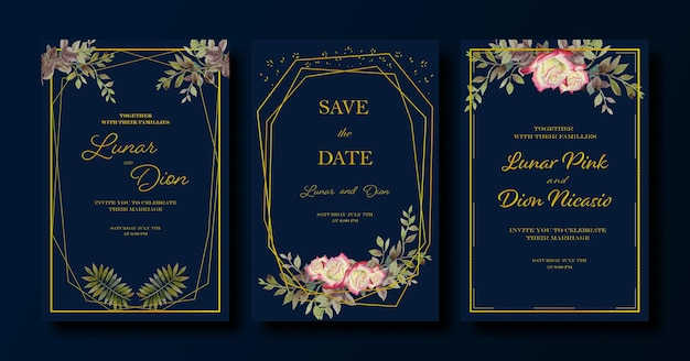 결혼식 초대 카드 럭셔리 황금 프레임 세트 장미 잎 파란색 배경 세트 Rsvp 현대 카드 프리미엄 벡터