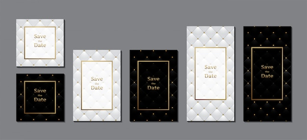 Wedding invitation card luxury leather upholstery