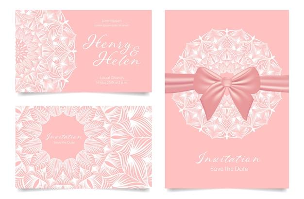 Wedding invitation card mandala design rose gold pastel color