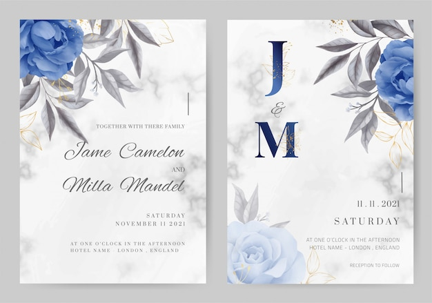 Wedding invitation card marble background navy blue rose color. watercolor painted. tamplate card set.