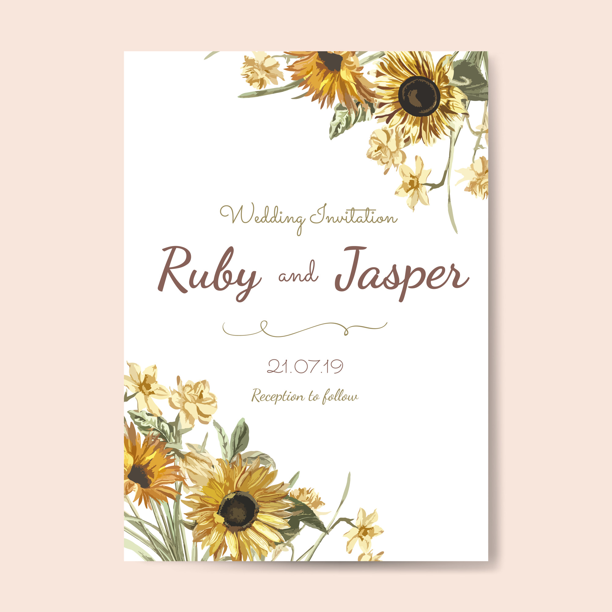 Wedding invitation card mockup vector
