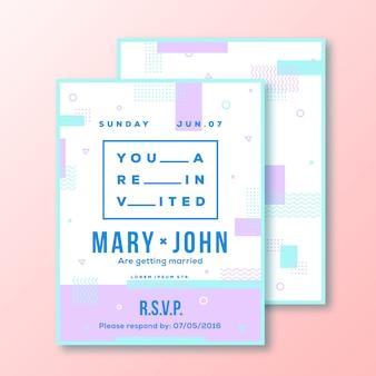 Свадебные приглашения или плакат шаблон. современный абстрактный плоский швейцарский стиль фона с декоративными полосами, зигзагами и прохладной типографии. розовый, мятный цвета. мягкие реалистичные тени.