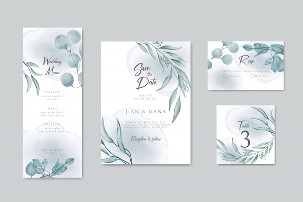 Wedding invitation card save the date rsvp table menu design with leaves wreath and frame