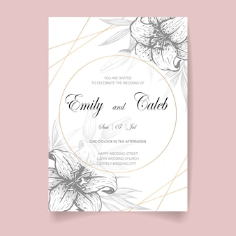 Wedding invitation card, save the date with golden frame, flowers, leaves and branches.