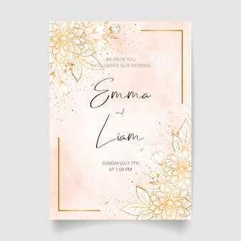 Wedding invitation card, save the date with watercolor background, golden flowers, leaves and branches.