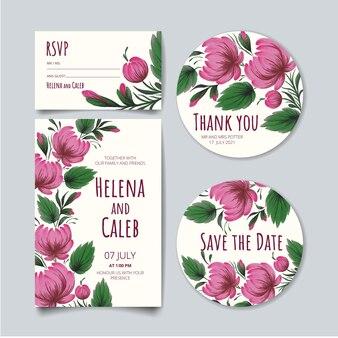 結婚式の招待カード、日付カード、出欠確認カード、花、葉、枝のあるありがとうカードを保存します。