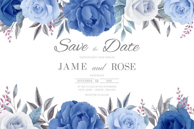 결혼식 초대 카드. 날짜를 저장하십시오. 꽃, 파란 장미와 파란 모란.