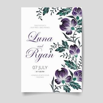 結婚式の招待カード、花、葉、枝で日付を保存します。