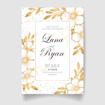 결혼식 초대 카드, 황금 꽃, 잎 및 가지로 날짜를 저장합니다.