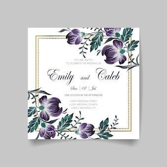 結婚式の招待カード、金色のフレーム、花、葉、枝で日付を保存します。