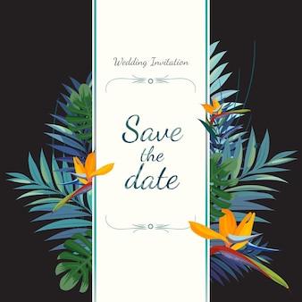 결혼식 초대 카드. 날짜를 저장하십시오.