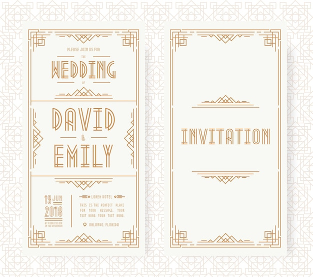 結婚式の招待カードセットアールデコスタイルのゴールドカラー