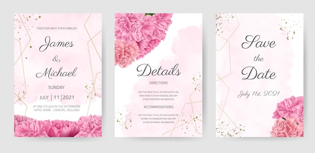 Wedding invitation card set carnation pink flower beautiful floral template