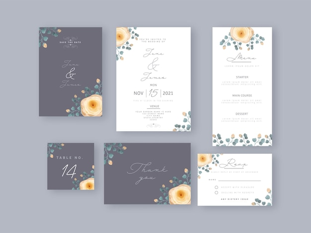 灰色と白の色の花で飾られた結婚式の招待カードセット。