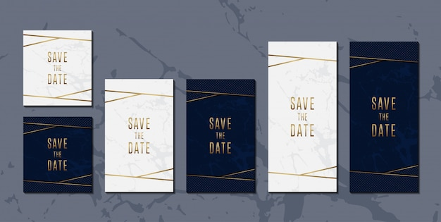 Wedding invitation card set of elegant blue golden