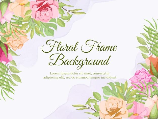 Wedding invitation card set floral template design