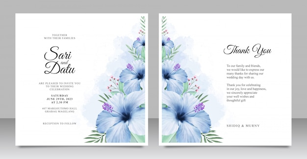 Wedding invitation card set template with beautiful floral aquarel