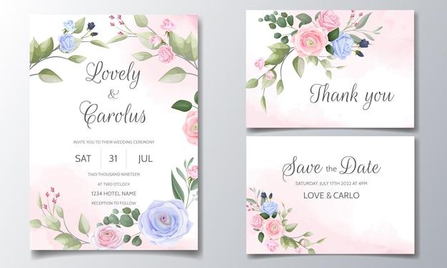 Свадебный пригласительный набор шаблонов с красивой цветочной рамкой