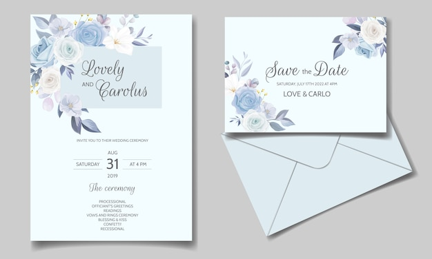 Wedding invitation card set template with beautiful floral frame