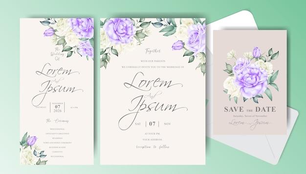 우아한 꽃 꽃이와 결혼식 초대 카드 세트 템플릿