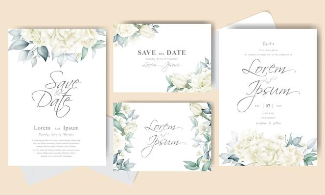 エレガントなフラワーアレンジメントの結婚式の招待カードセットテンプレート