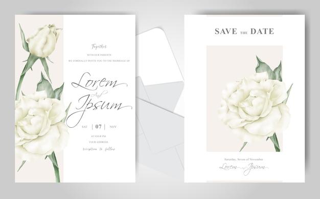 우아한 꽃 프레임 결혼식 초대 카드 세트 템플릿