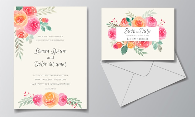 Wedding invitation card set template with floral and leaves watercolor