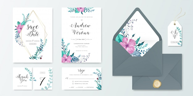 Wedding invitation card set template with floral watercolor decoration.