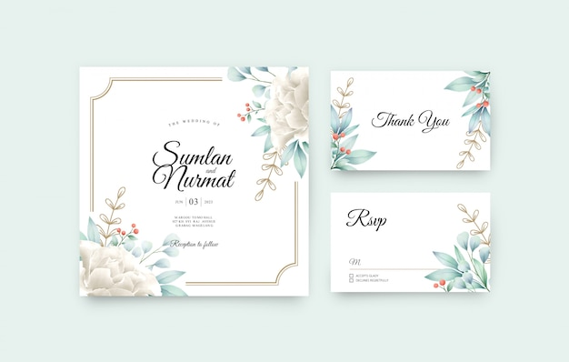 Wedding invitation card set template with floral watercolor