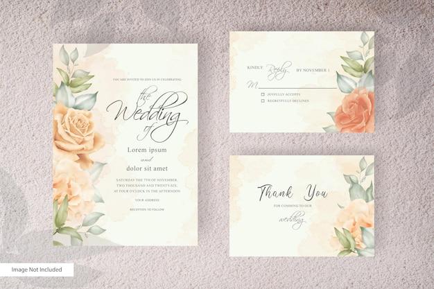 花と葉の装飾が施された結婚式の招待カードセットテンプレート。トレンディな植物の花輪、ヴィンテージの素朴な要素、花のフレームカード。