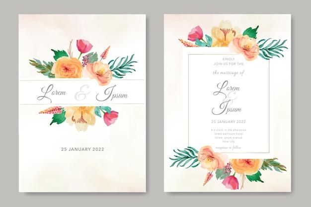 결혼식 초대 카드 설정 템플릿 꽃과 잎 수채화
