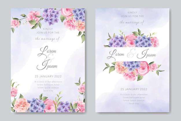 결혼식 초대 카드 설정 템플릿 꽃과 잎