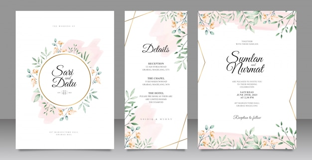 결혼식 초대 카드 템플릿을 나뭇잎 수채화 장식